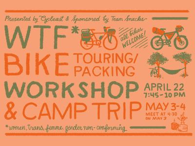 Hand lettered WTF* bike workshop flyer