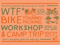 Hand lettered WTF* bike workshop flyer