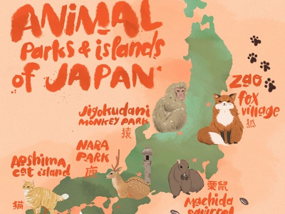 Illustrated Map of Animal Parks in Japan