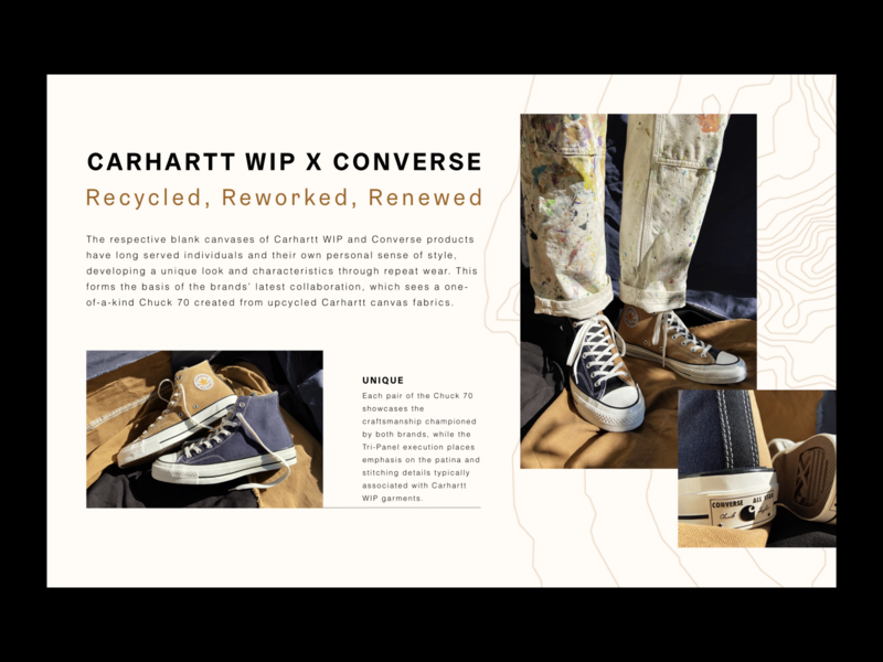 Carhartt  X Converse lookbook concept grid layout layout minimal design typography sneakers shoes converse lookbook