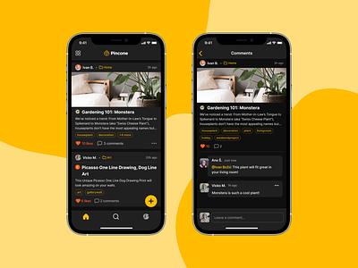 Pincone • Dark Mode iphone dark darkmode design layout ios mobile ux ui