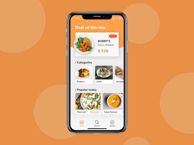 Food ordering app ordering food food app concept iphone x iphone ios