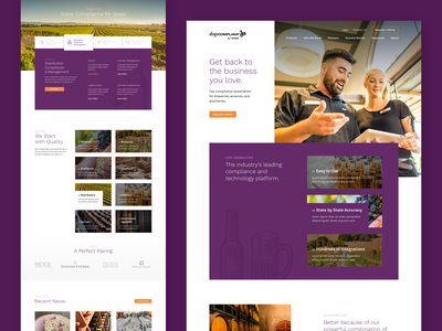 ShipCompliant by Sovos beverage alchohol brand web design website web ui landing page homepage design