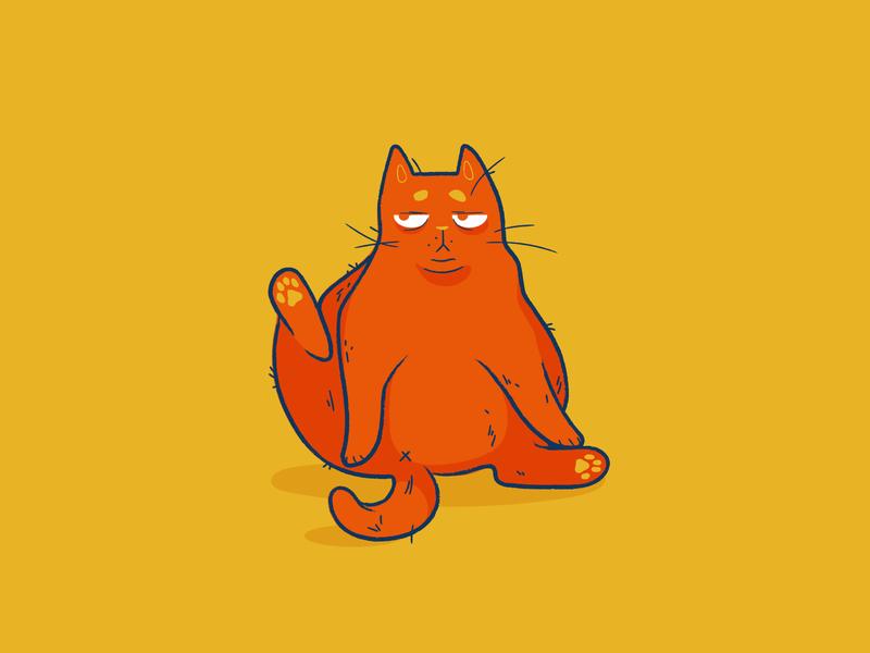 Lethargic Cat lines kps3100 animal cat illustration