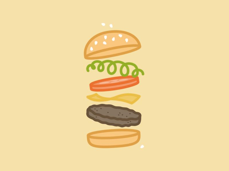 Cheese Burger lines kps3100 burger food illustration