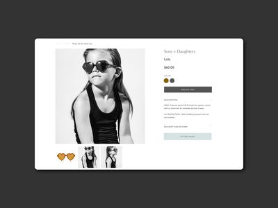 Single product page typography agency kids clean design website minimal e-commerce
