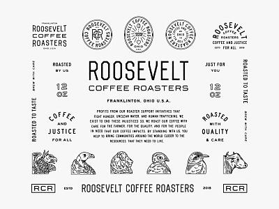RCR Identity Display logotype animals coffee illustration badge lockup lettering type design logo identity