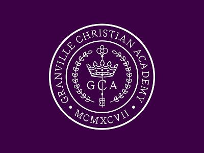 GCA Seal key crown illustration icon type seal education school badge