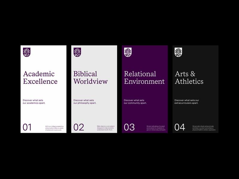 GCA Four Pillars color type education school identity layout print