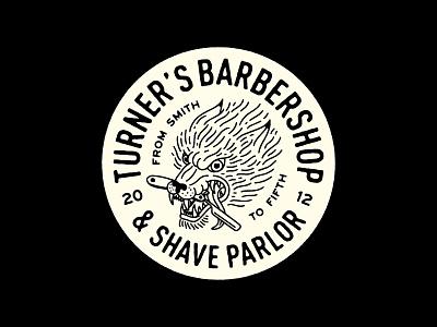 Tuner's I type lettering wolf illustraion barbershop barber badgedesign badges badge