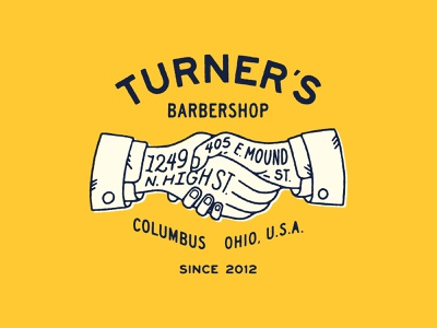 Turner's II lettering handshake hands barbershop barber illustraion lockup lockups