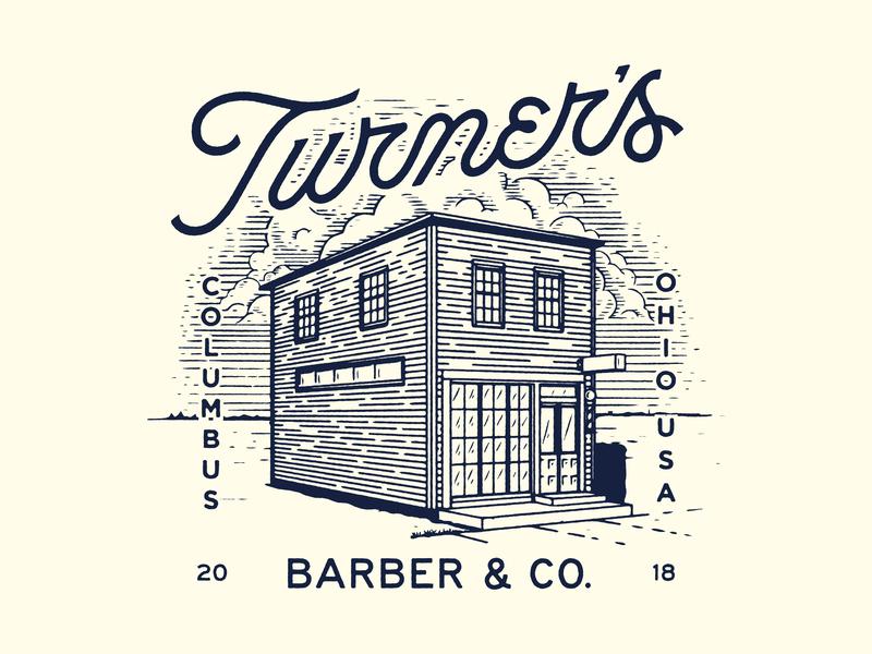 Turner's IV usa barbershop barber building illustration script lettering type