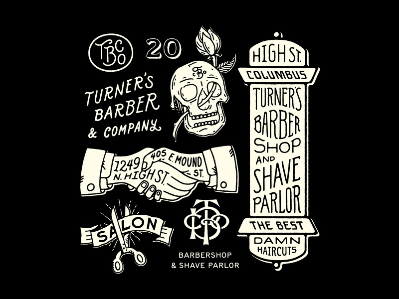 Turner's V illustraion skull barbershop barber lettering