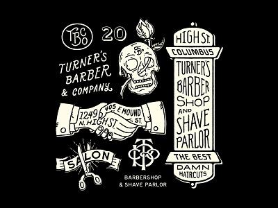 Turner's V illustraion skull barbershop barber lettering