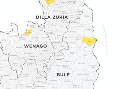 Map of Ethiopia for a specialty coffee company