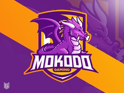 MOKODO GAMING esport logo with dragon mascot illustrator coreldraw purple dragon gaming gaming logo esportlogo esport drawing mascot
