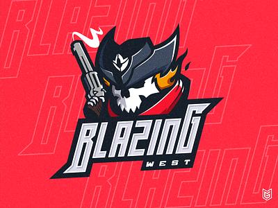 BLAZING WEST | Skull Cowboy Esport Logo Mascot youtube twitch streamer logo illustration gaming gamer drawing coreldraw esportlogo esport mascot