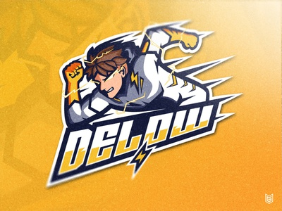 DELOW | Speedster Esport Mascot Logo branding design yellow flash runner running flash the flash speed esport logo branding logo streamer illustration gaming gamer drawing coreldraw esportlogo esport mascot