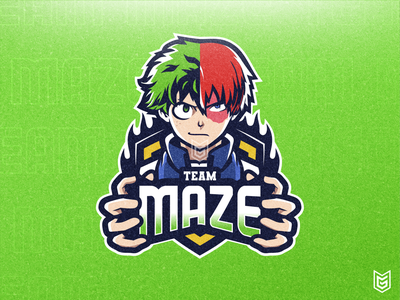 TEAM MAZE | Anime Esport Logo Mascot games my hero academia midoriya youtube logo todoroki anime youtube branding drawing streamer ui coreldraw design logo illustration gaming gamer esportlogo esport mascot