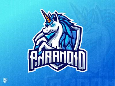 PARANOID | Unicorn Esport Logo Mascot pegasus blue horse unicorn logo unicorn esports logo youtube branding adobe photoshop adobe illustrator esport logo drawing streamer logo gamer gaming esportlogo coreldraw esport mascot