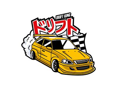 Drift King logo mascot flat logo drift king drift logo mascot supercar mascot logo