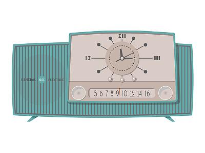 Radio Clock 2 illustration mid century clock radio