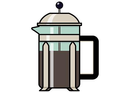 French Press flat illustration french press coffee