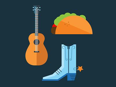 Austin Elements taco guitar boot texas flat illustration