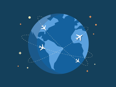 Cyber Monday world globe earth planes hired illustration flat