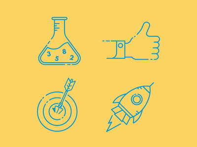 Icons rocket thumbs up accuracy data science illustration icons