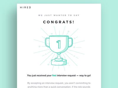 Congrats! illustration email first place trophy congrats congratulations