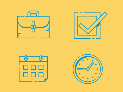 Icons Part II briefcase clock checkmark calendar icons