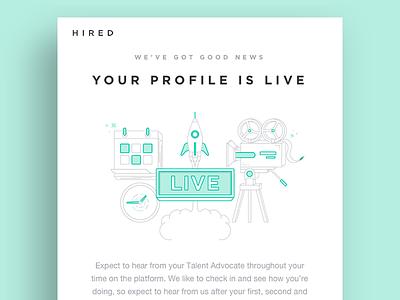 Live Profile Email illustration camera calendar rocket live email