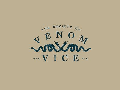 The Society of Venom & Vice club vice venom asheville sackers chronicle logo typography crest snakes snake