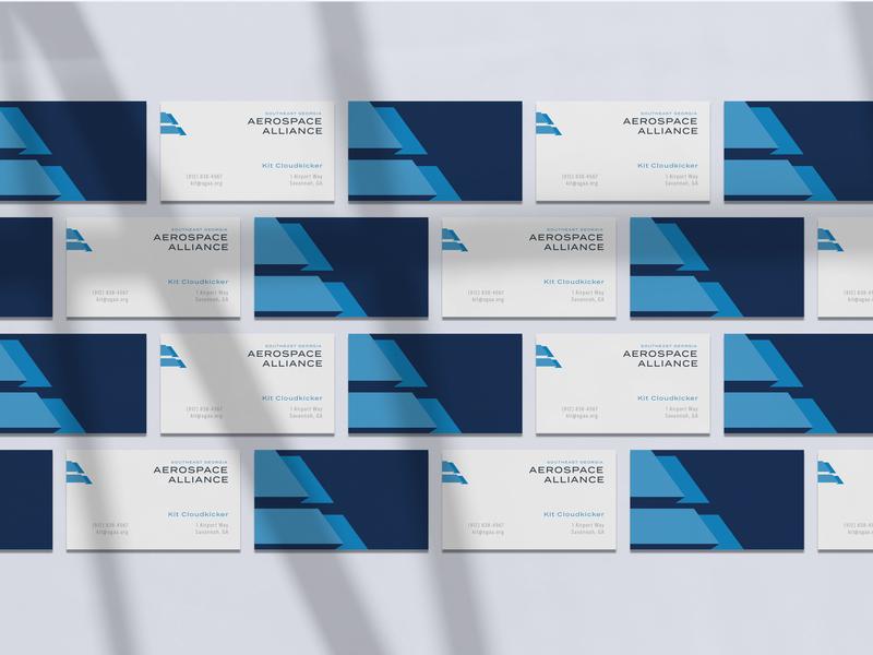 SGAA Business Cards vector design logo flat lay a aa monogram aa alliance flight aerospace art direction flag logo monogram flag blue stationary business branding brand brand mockup business card