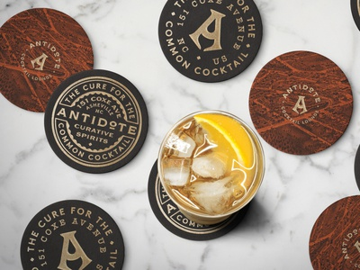 Antidote Coasters illustration seal coaster bar brand logo