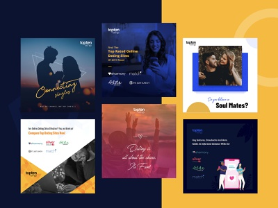 Social Media Banners love top10 datingsites abstractshapes productsite instagram godigital dating uiux gradients mockup illustration vector graphics typo ux ui images webdesign socialmedia