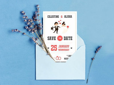 SAVE the DATE commissioned groom bride typo illustration theme coralgold savethedate weddinginvite