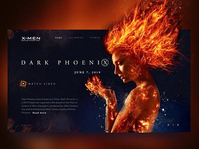 Dark Phoenix Design dark design concept website web ui ux design super hero xman