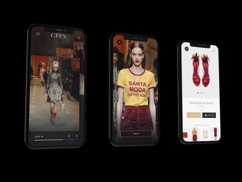 Runway UI design app ui design concept slideshow shop product fashion model runway app design