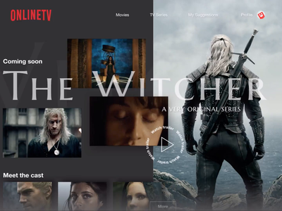The Witcher Landing effect series tv after effects principle inspiration transition animation video ui design ui witcher landing streaming netlix