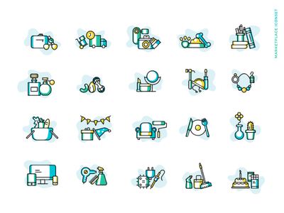 Marketplace icon set clean stroke services products iconset ui illustration branding vector icon