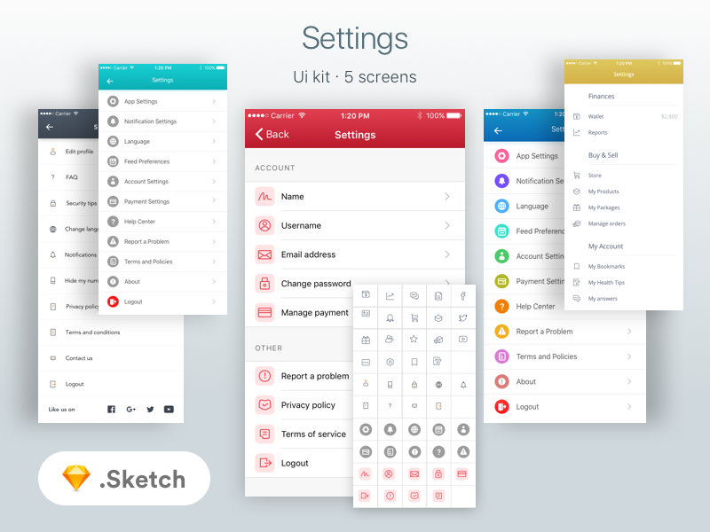 Freebie : Settings Screens & icons Ui Kit