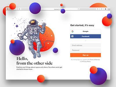 Login Signup website web typography space flat design concept branding clean
