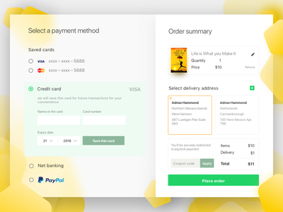 Payment UI for Checkout website web typography space flat design concept branding clean