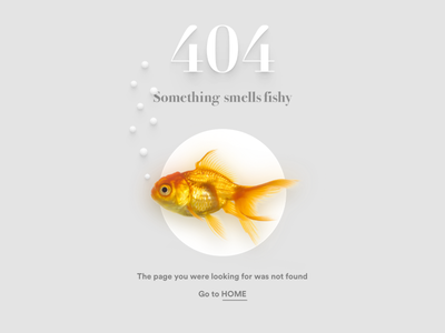 404 Page Not Found web ux found missing typography design ui clean fish error