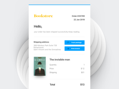 Email Reciept web typo template email summary print track booking clean