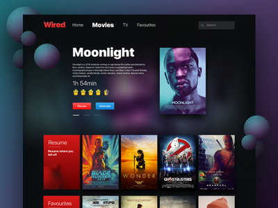 Online streaming Web App UI ux ui shows entertainment episodes prime website concept netflix dark tv movies