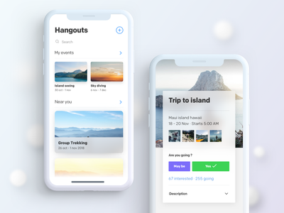 Event App Cards UI UX travel trip typography space flat design concept x phone i clean