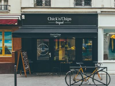 Chick'n'Chips logo design.